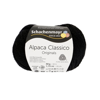 Fir de tricotat Alpaca Classico - Black 00099