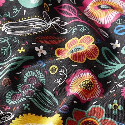 Home Decor Fabric - Folklore Bouquet Black