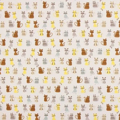Home Decor Ottoman Printed Fabric -  We love Cats