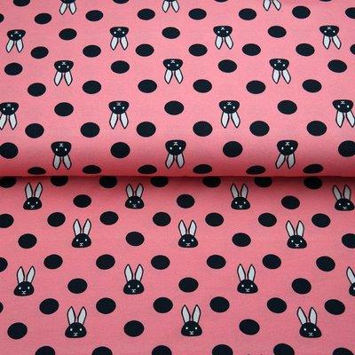 Jerse Bumbac - Bunnies Pink