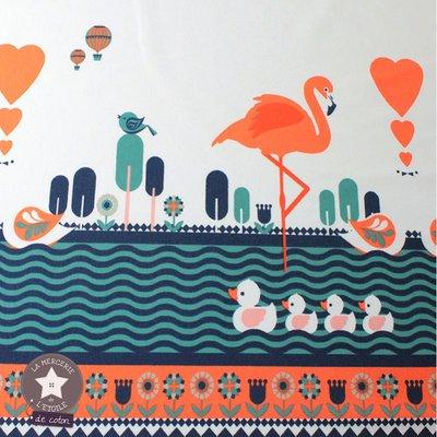 Jerse Bumbac - Flamingo Border White