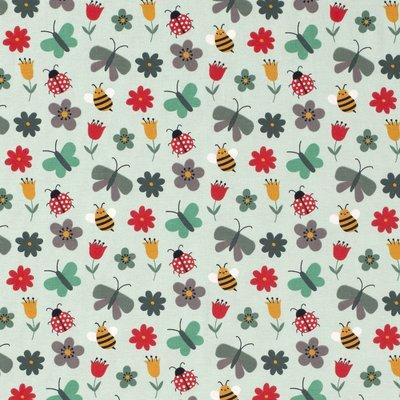 Jerse bumbac imprimat - Butterflies Mint