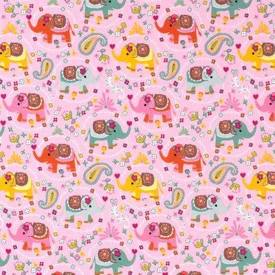 Jerse bumbac imprimat - Elephants Pink
