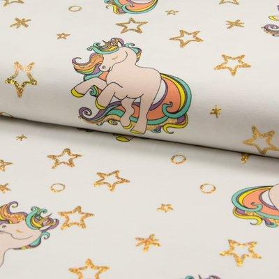 Jerse Bumbac imprimat - Glitter Unicorn Ivory