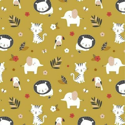 Jerse Bumbac imprimat - Jungle Animals Ochre