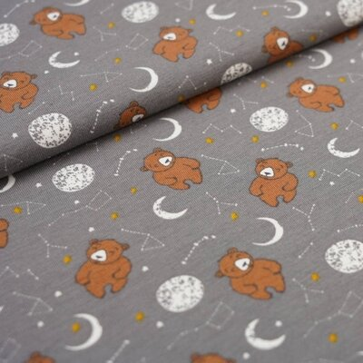 Jerse Bumbac imprimat - Little One Bear Grey