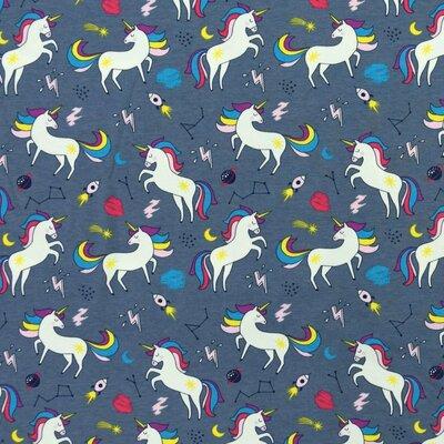 Jerse Bumbac imprimat - Unicorn Navy