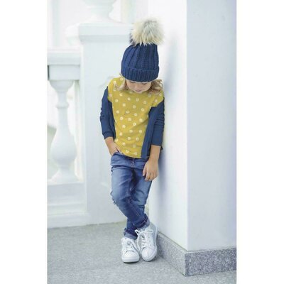 Jerse Bumbac Organic digital - Small Flower Yellow