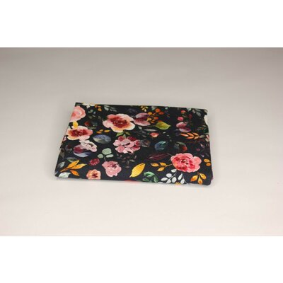 Jerse Bumbac organic - Painted Flowers Navy