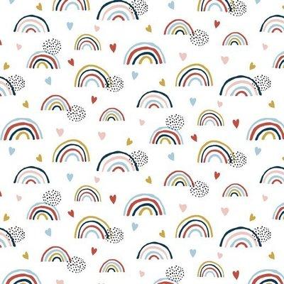 Jerse Bumbac organic - Rainbow White