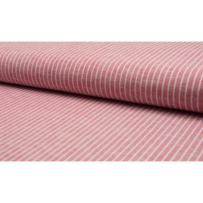 Linen Viscose - Red Stripe