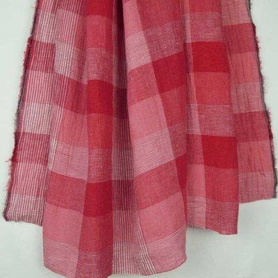 Material 100% In - Linen Checks Red/Rose