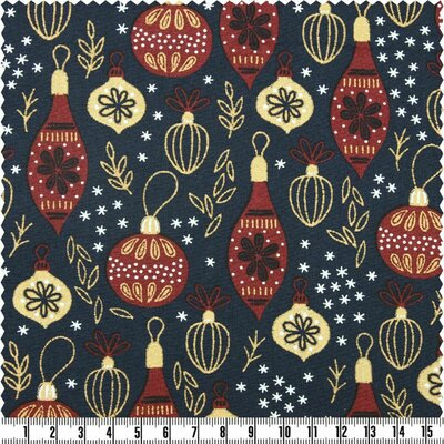 Material bumbac - Christmas Baubles Navy
