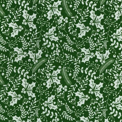 Material bumbac - Christmas Berries Green