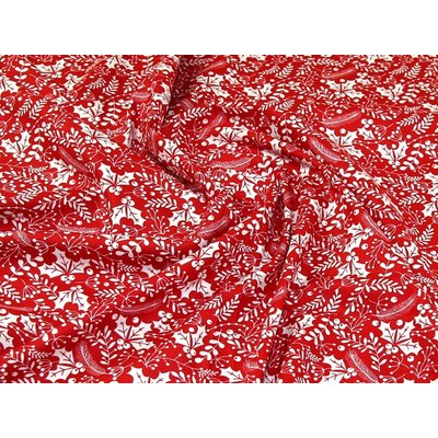 Material bumbac - Christmas Berries Red
