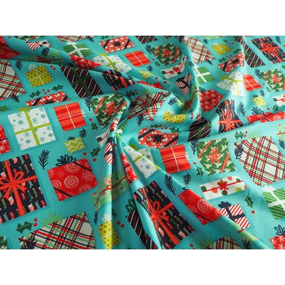Material bumbac - Christmas Presents Teal