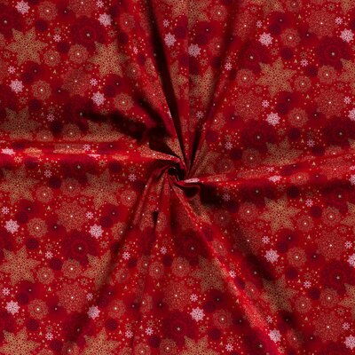 Material bumbac - Christmas Stars Red