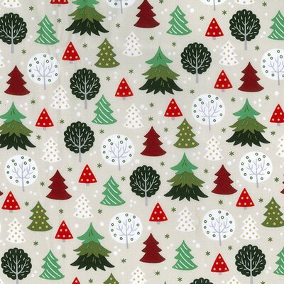 Material bumbac - Christmas Trees Ivory