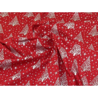 Material bumbac - Christmas Trees Red-Silver