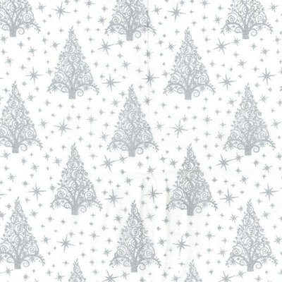 Material bumbac - Christmas Trees White-Silver