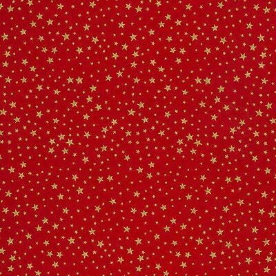 Material bumbac - Golden Red Stars