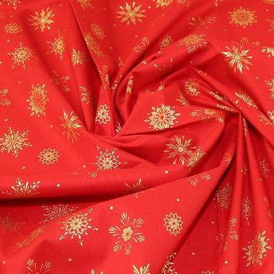 Material bumbac - Golden Snowflakes Red