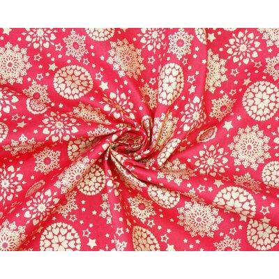 Material bumbac - Metallic Snowflake Mandala Red