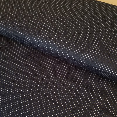 Material bumbac - Silver Dots On Navy