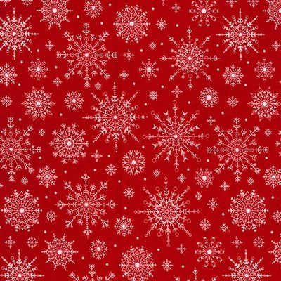 Material bumbac - Snowflakes Red