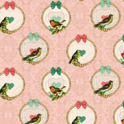 Material Canvas Bumbac - Vintage Birds