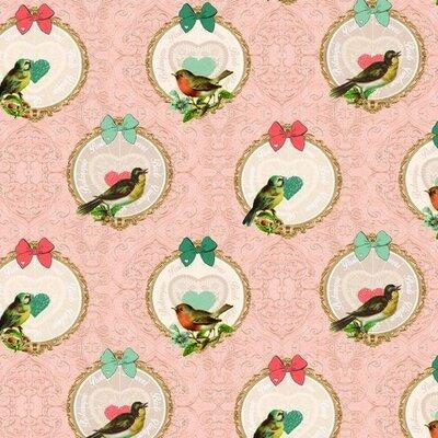 Material Canvas Bumbac - Vintage Birds