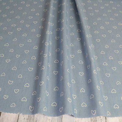 Material Denim Soft Imprimat - Hearts Light