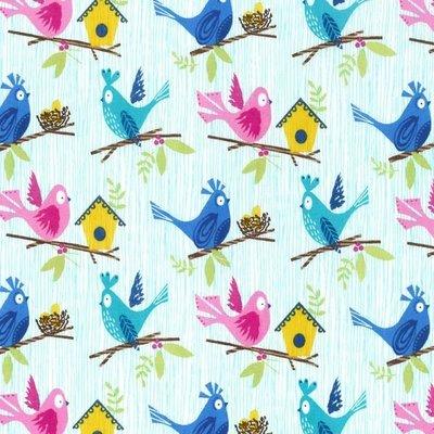 Material designer Michael Miller - Bird Dee Da Aqua