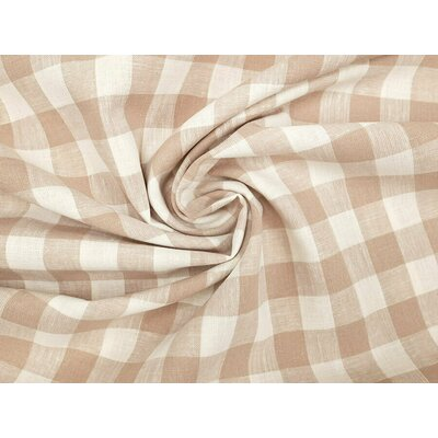 Material din amestec de in si bumbac - Linen Check Ivory-Beige