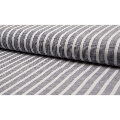 Material din amestec de in si bumbac - Navy Stripe