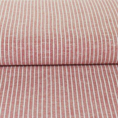 Material din amestec de in si vascoza - Red Stripe