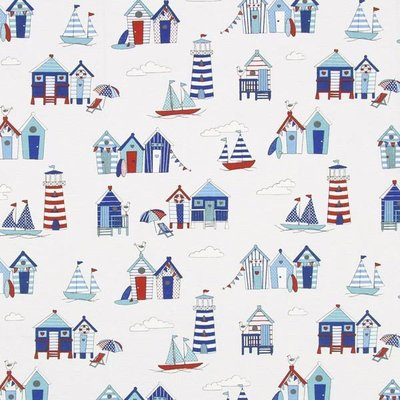 Material Home Decor - Beach Huts White - 2.80m latime