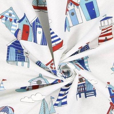 Material Home Decor - Beach Huts White