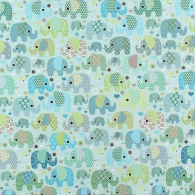 Material Home Decor - Elephants Mint