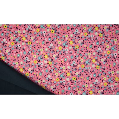 Material impermeabil si calduros Soft Shell - Flowers Pink