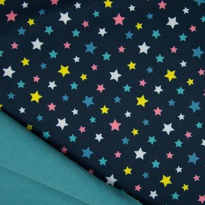 Material impermeabil si calduros Soft Shell - Stars Navy