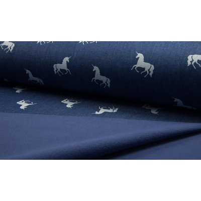 Material impermeabil si calduros Soft Shell - Denim Print Unicorns