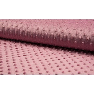 Minky Dot Fleece Fabric - Old Rose