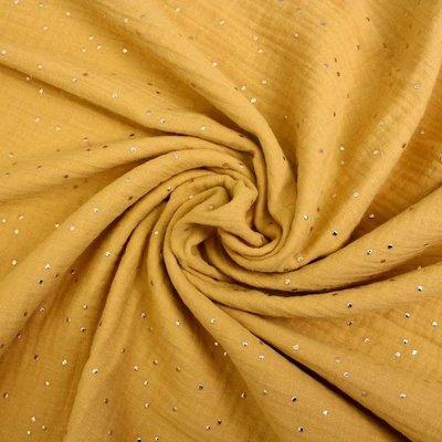 Muselina cu buline aurii - Glitz Ocru