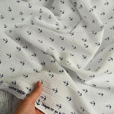 Muselina imprimata - Anchors White