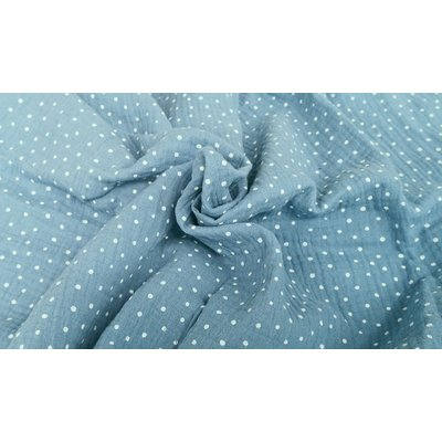 Muselina imprimata - Little Dots Light Blue