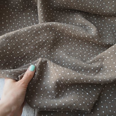 Muselina imprimata - Little Dots Taupe