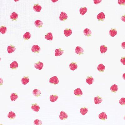 Muselina imprimata - Strawberry White