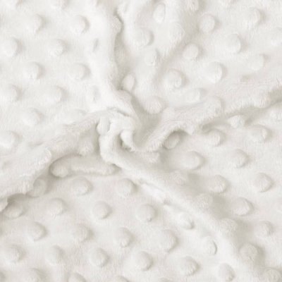 Plush Minky Dot - Ivory White