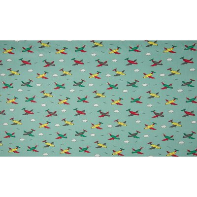 Poplin imprimat - Airplanes Mint